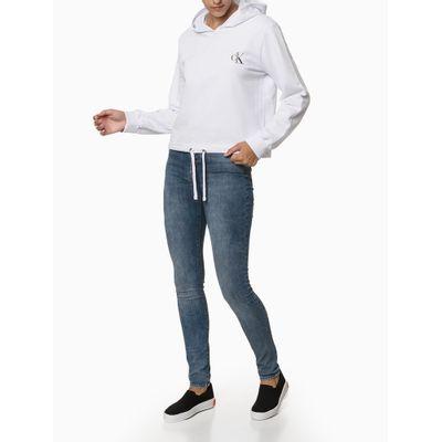 Blusão Fem Cropped Com Capuz Moletom - Branco
