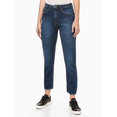 Calça Jeans Feminina Balloon Pence na Barra Cintura Alta Azul Marinho Calvin Klein