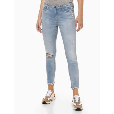 Calça Jeans Feminina Super Skinny Barra Destroyed Azul Claro Calvin Klein