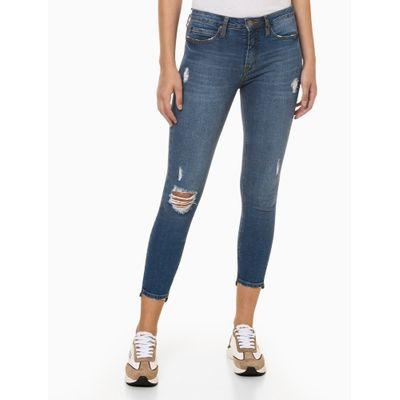 Calça Jeans Feminina Super Skinny Destroyed Azul Médio Calvin Klein Jeans