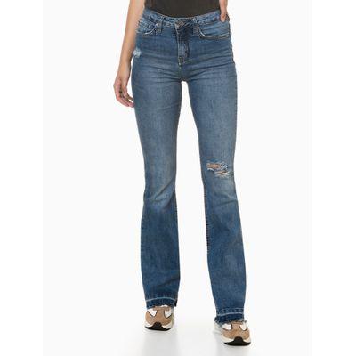 Calça Jeans Feminina Five Pockets Cintura alta Azul Médio Calvin Klein