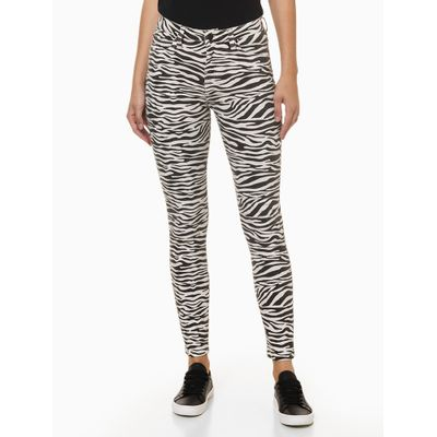 Calça Jeans High Rise Skinny Est Zebra - Preto