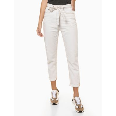 Calça Jeans Feminina Com Faixa Nude Calvin Klein