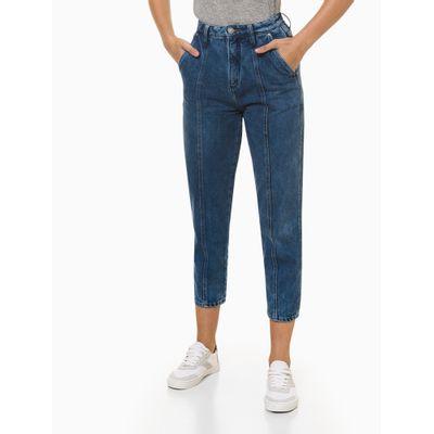 Calça Jeans Feminina Balloon com Recorte Azul Médio Calvin Klein