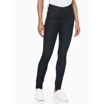 Calça Jeans Feminina Five Pockets Skinny Cintura Alta Azul Marinho Costura Laranja Calvin Klein