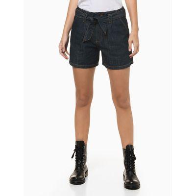 Shorts Jeans Com Amarração Na Cintura - Azul Marinho
