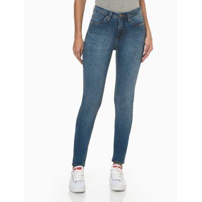 Calça Jeans Feminina Super Skinny Pesponto Triplo Azul Médio Calvin Klein Jeans