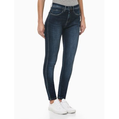 Calça Jeans Feminina Five Pockets Skinny Cintura Alta Azul Marinho Calvin Klein