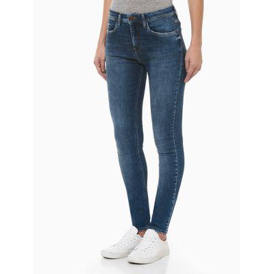 Calça Jeans Feminina Five Pockets Escovada Skinny Cintura Alta Azul Médio Calvin Klein