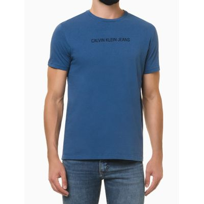 Camiseta Masculina Logo Básico Azul Médio Calvin Klein Jeans