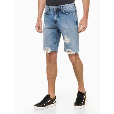Bermuda Jeans Com Puidos - Azul Médio