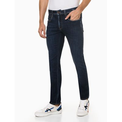 Calça Jeans Masculina Five Pockets Skinny com Stretch Puídos Cintura Baixa Azul Marinho Calvin Klein