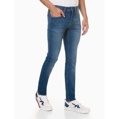 Calça Jeans Masculina Five Pockets Super Skinny com Stretch Cintura Baixa Azul Claro Calvin Klein