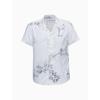 Camisa Mc Estamp S Bols Folhagem Avesso - Branco