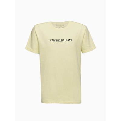Camiseta Masculina Infantil Básica Amarelo Claro Calvin Klein Jeans