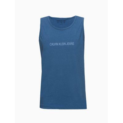 Camiseta Infantil Regata Masculina Básica Azul Médio Calvin Klein Jeans