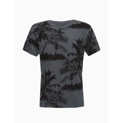 Camiseta Masculina Infantil Estampa Palmeira Chumbo Calvin Klein Jeans