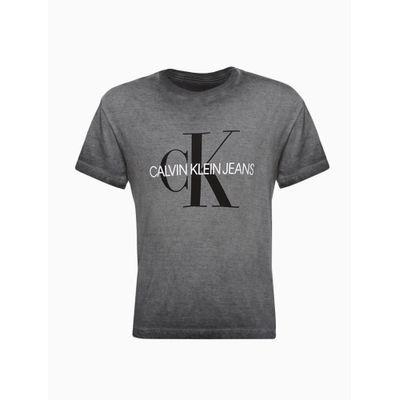 Camiseta Masculina Infantil Estonada Logo Grande Chumbo Calvin Klein Jeans