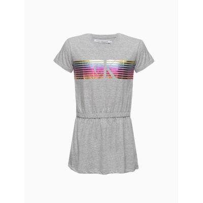 Vestido Malha Mc Meia Gc Logo Rainbow - Cinza Mescla