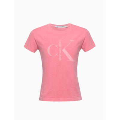 Blusa Feminina Infantil Estonada Rosa Calvin Klein Jeans