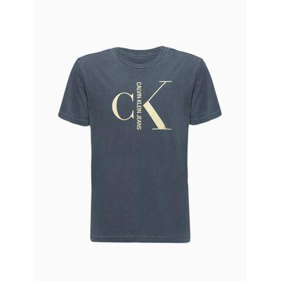 Camiseta Masculina Infantil Estonada Azul Marinho Calvin Klein Jeans