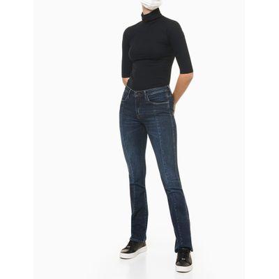 Calça Jeans Feminina Slim Flare Recortes Frontais Azul Marinho Calvin Klein