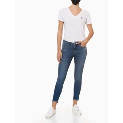 Calça Jeans Feminina Barra Bordada Azul Médio Calvin Klein