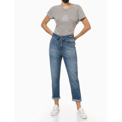 Calça Jeans Feminina com Cós Dobrado Azul Claro Calvin Klein Jeans