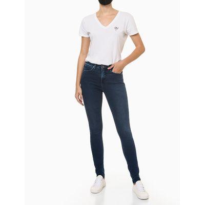 Calça Jeans Feminina Skinny Premium Cintura Alta Azul Marinho Calvin Klein