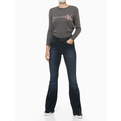 Calça Jeans Feminina Five Pockets Skinny Flare Azul Marinho Calvin Klein Jeans