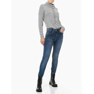 Calça Jeans Five Pockets High Rise Skinn - Azul Médio