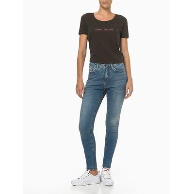 Calça Jeans High Rise Skinny B. Rel. Emb - Azul Médio