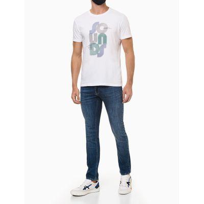 Calça Jeans Masculina Five Pockets Skinny com Stretch Bolso com Puídos Cintura Baixa Azul Médio Calvin Klein