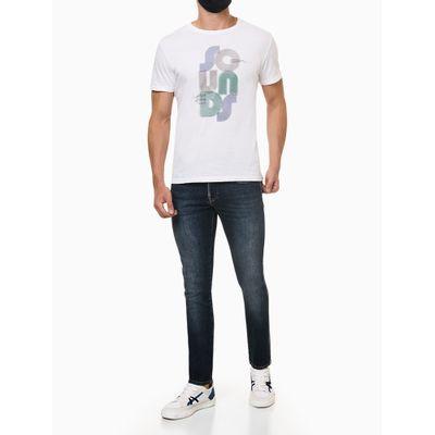 Calça Jeans Masculina Five Pockets Skinny com Stretch Bolso com Puídos Cintura Baixa Azul Marinho Calvin Klein