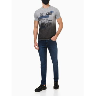 Calça Jeans Masculina Five Pockets Skinny Cintura Baixa Azul Médio Calvin Klein