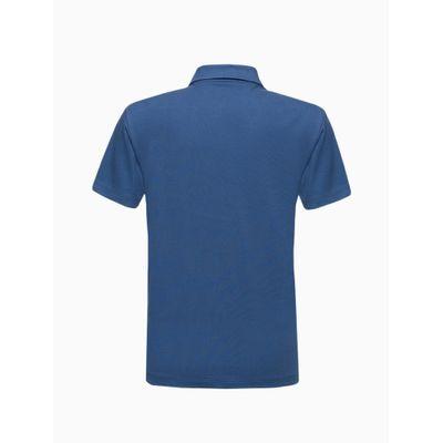 Polo Mc Logo Piq Rolo Gola Ret Palito - Azul Médio
