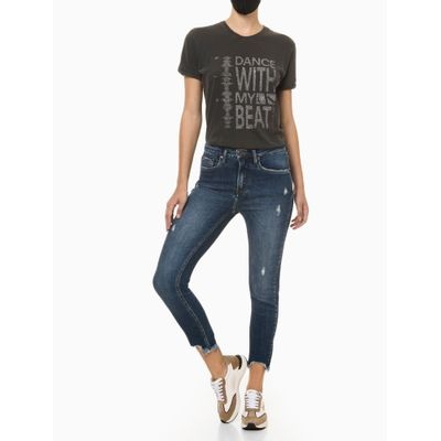 Calça Jeans Feminina Skinny Cintura Alta Azul Marinho Calvin Klein