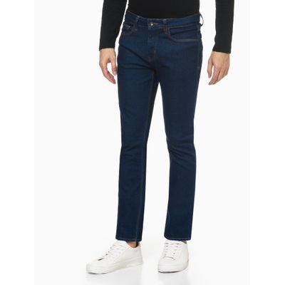 Calça Jeans Masculina Five Pockets Slim Reta Cintura Baixa Azul Marinho Calvin Klein