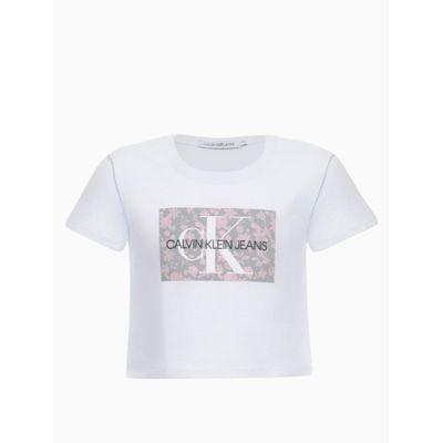 Blusa Feminina Infantil Cropped Logo Floral Branca Calvin Klein Jeans