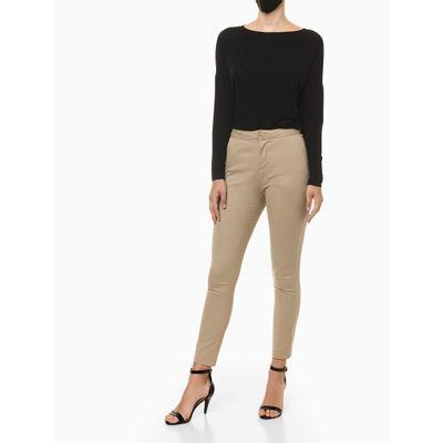 Calça Justa Calvin Klein Com Cós E Bolso - Cáqui