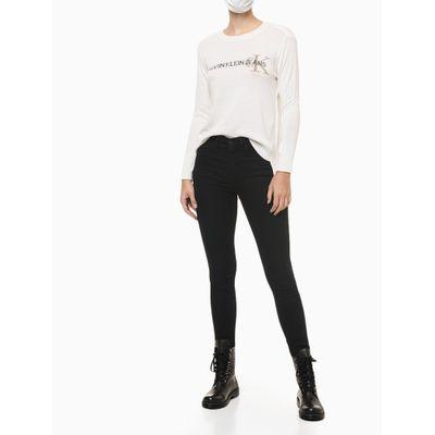 Calça Jeans Feminina Five Pockets Cintura Alta Preta Calvin Klein