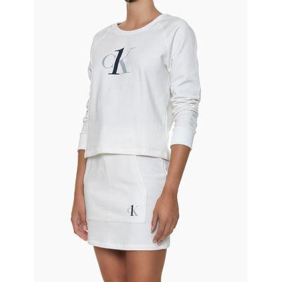 Casaco Feminino Moletom Decote Canoa Nude Loungewear Calvin Klein