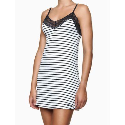 Pijama Feminino Camisola Rendas Listrado Preto e Branco Calvin Klein