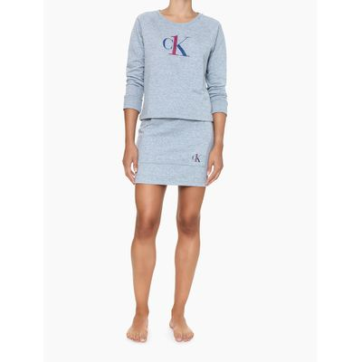 Casaco Feminino Moletom Decote Canoa Cinza Mescla Loungewear Calvin Klein