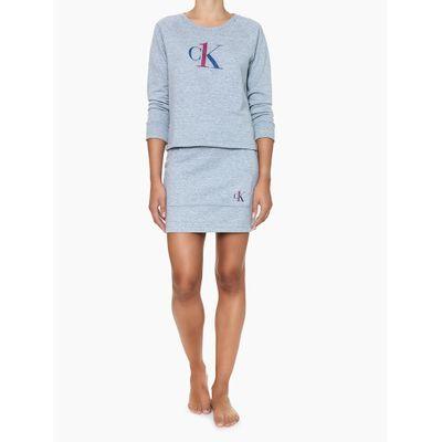 Saia Feminina Moletom Cinza Mescla Loungewear Calvin Klein
