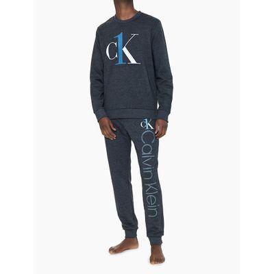 Calça Masculina Moletom Graphic Logo Chumbo Loungewear Calvin Klein