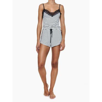 Pijama Feminino Rendas Listrado Preto e Branco Calvin Klein