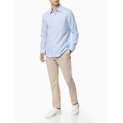 Camisa Ml Regular Cannes Linen - Azul Claro