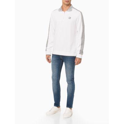 Casaco Masculino Meio Zíper Faixa Cinza Branco Calvin Klein