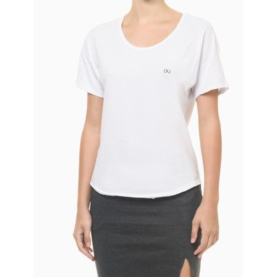 Blusa Feminina Slim Logo Costas Branca Calvin Klein Jeans